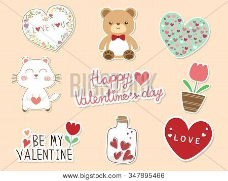 Sweet 9 piece doodle Valentine flat icon and text HAPPY VALENTINES DAY. Cute Valentines vector art for sticker or element for Valentine concept and Valentine card or other design with heart, bear,cat,dog, flower and bottle. stock photo