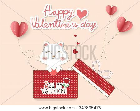 Valentine wallpaper or Valentine card with cute white puppy in red gift box. Pastel pink Valentine background decor with paper cut pink heart shape balloon look so sweet and romantic. Vector art design for Valentine day. stock photo