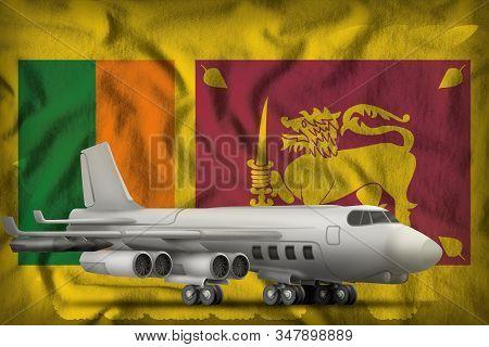 bomber on the Sri Lanka flag background. 3d Illustration stock photo
