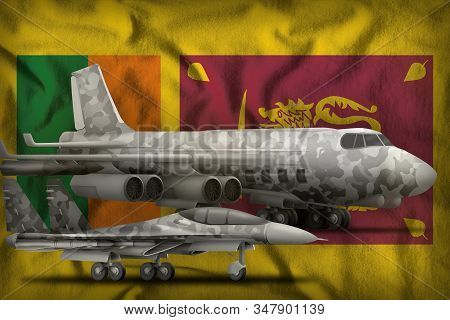 air forces with grey camouflage on the Sri Lanka flag background. Sri Lanka air forces concept. 3d Illustration stock photo
