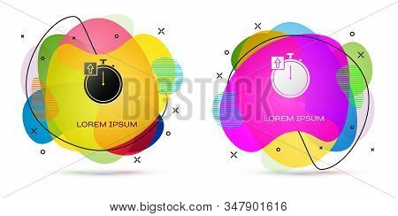 Color Stopwatch icon isolated on white background. Time timer sign. Chronometer sign. Abstract banner with liquid shapes. Vector Illustration stock photo