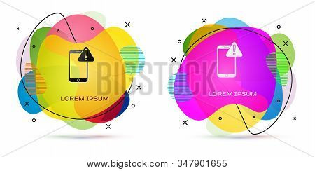 Color Mobile phone with exclamation mark icon isolated on white background. Alert message smartphone notification. Abstract banner with liquid shapes. Vector Illustration stock photo