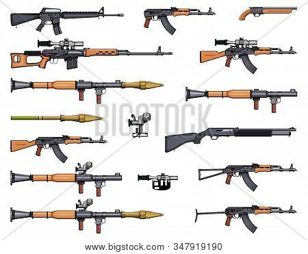 Weapons set. Kalashnikov rifle. Gun set. RPG. Arsenal set. Sniper scope rifle. Firearms. Assault rifles. Gun for self defense. Rifles. Machine gun. Shotgun. Sniper rifles. Weapons for games. stock photo