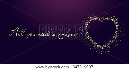 All you need is Love quote and golden sparkling heart with dust glitter graphic on dark background. Glorious decorative glowing shiny valentines day design. Vector illustration stock photo