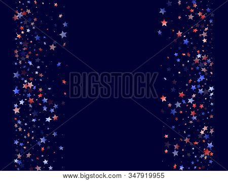 American Patriot Day stars background. Holiday confetti in USA flag colors for Patriot Day. Gradient red blue white stars on dark American patriotic vector. 4th of July stardust scatter. stock photo