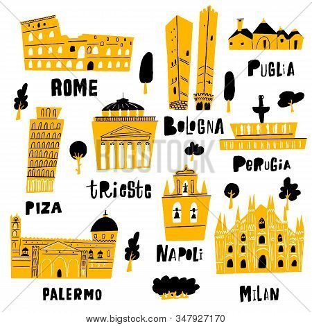 Italian city architecture and main tourist attractions. Vector illustration in doodle style. stock photo