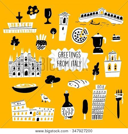Vector cartoon illustration of italian architecture, tourist attractions and cultural symbols. stock photo