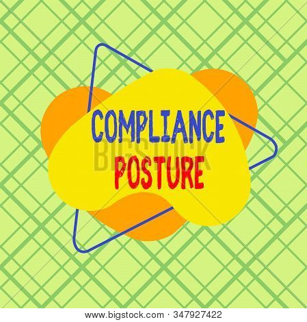 Conceptual hand writing showing Compliance Posture. Business photo text analysisage the defense of enterprise and assure resources Asymmetrical format pattern object outline multicolor design. stock photo