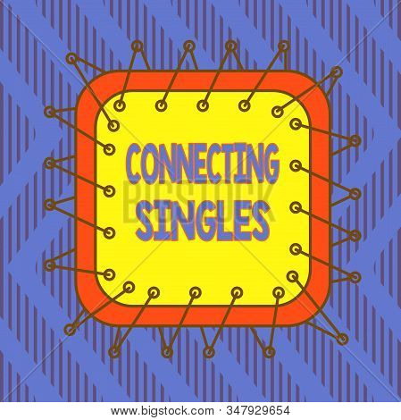Conceptual hand writing showing Connecting Singles. Business photo text online dating site for singles with no hidden fees Asymmetrical uneven shaped pattern object multicolour design. stock photo