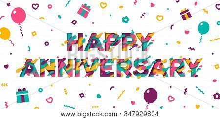 Happy Anniversary typography design with abstract paper cut shapes isolated on white background. Vector illustration. Colorful 3D carving art, confetti, balloons and gift boxes stock photo
