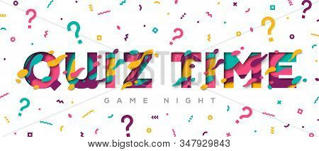 Quiz time typography design with abstract paper cut shapes on white background. Vector illustration. Colorful 3D carving art. Fast questions and answers game. stock photo