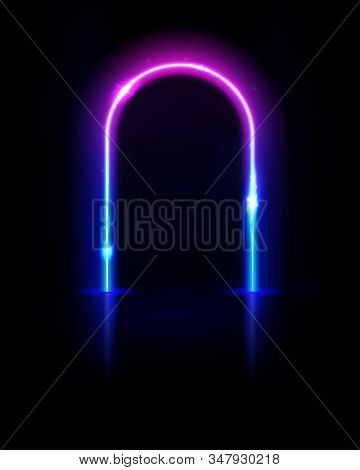 Neon arch. Frame, tunnel or portal. Neon lights. Vector abstract background. Geometric glow outline arc shape or laser glowing lines. Abstract background. Virtual reality. stock photo