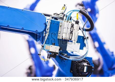 Augmented reality for industry concept. Robotic and Automation system control application on automate robot arm in smart manufacturing background. stock photo