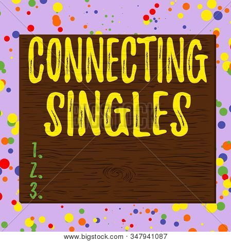 Word writing text Connecting Singles. Business concept for online dating site for singles with no hidden fees Square rectangle unreal cartoon wood wooden nailed stuck on coloured wall. stock photo