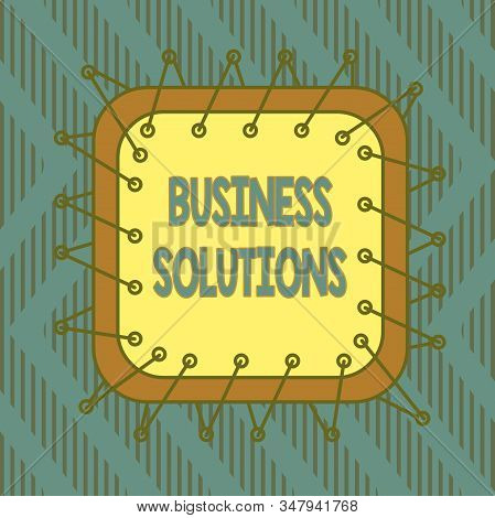 Conceptual hand writing showing Business Solutions. Business photo text ideas used to help a company achieve its objectives Asymmetrical uneven shaped pattern object multicolour design. stock photo