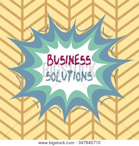 Conceptual hand writing showing Business Solutions. Business photo showcasing ideas used to help a company achieve its objectives Asymmetrical uneven shaped pattern object multicolour design. stock photo