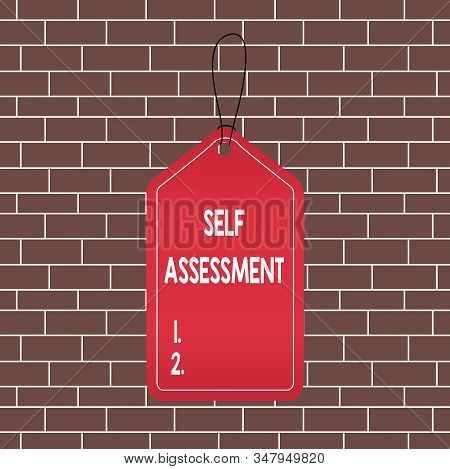 Text sign showing Self Assessment. Conceptual photo evaluation of oneself or one actions and attitudes Empty tag blank space colorful background label rectangle attached string. stock photo
