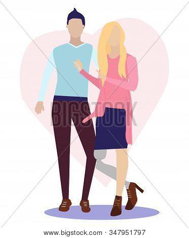 young girl with a bionic prosthetic leg is standing in fashionable clothes and with a beautiful hairstyle. He points to her boyfriend. Inclusion, communication, full life. Vector flat illustration stock photo