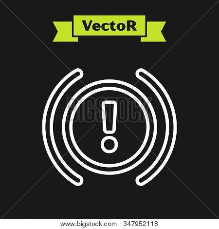 White line Brake system warning icon isolated on black background. Exclamation mark in the car. Dashboard attention sign. Vector Illustration stock photo