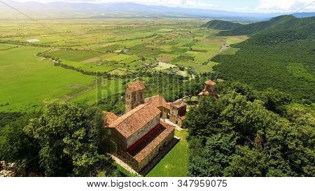 Ancient Nekresi monastery complex and valley, antique architecture, travel stock photo