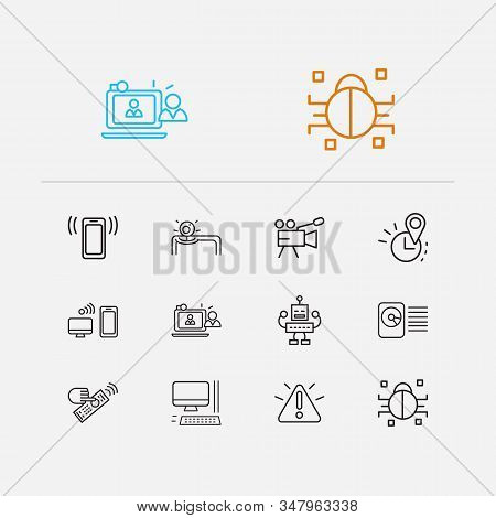 Hardware icons set. Hdd and hardware icons with computer, real time location and video camera. Set of talk for web app logo UI design. stock photo