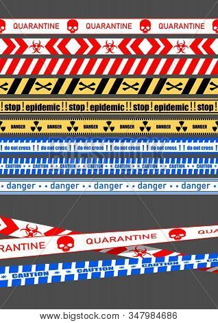 A set of fencing tapes, fencing the quarantine area, the danger zone. Vector illustration. stock photo