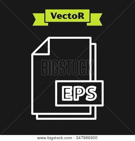 White line EPS file document. Download eps button icon isolated on black background. EPS file symbol. Vector Illustration stock photo