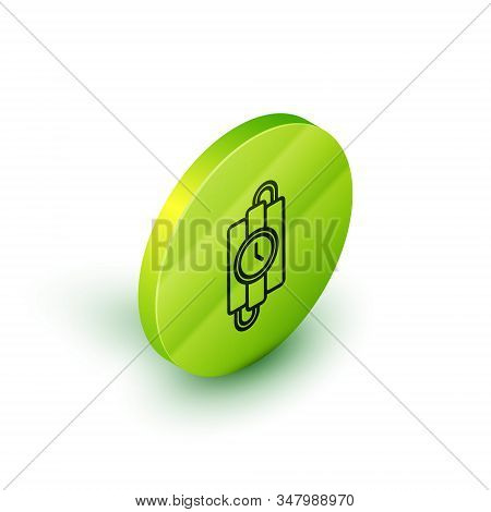 Isometric line Detonate dynamite bomb stick and timer clock icon isolated on white background. Time bomb - explosion danger concept. Green circle button. Vector Illustration stock photo