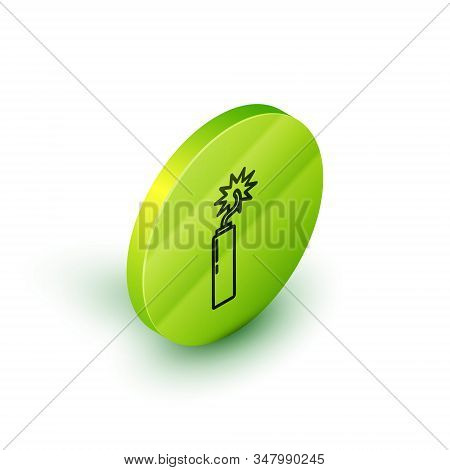 Isometric line Detonate dynamite bomb stick clock icon isolated on white background. Time bomb - explosion danger concept. Green circle button. Vector Illustration stock photo