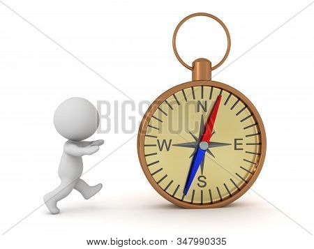 3D Character showing compass. 3D Rendering isolated on white. stock photo