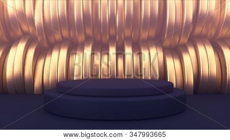 advertising abstract background. Black podium. Golden cylinders in the background. Beautiful abstraction and luxury. 3d illustration minimalist mockup stock photo