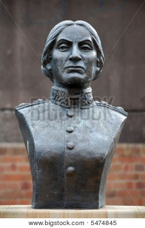 Statue of Juana Azurduy de Padilla - Guerilla fighter for the independence of Bolivia from spanish rule stock photo