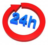24 hours conveyance sign. PC produced 3D photograph rendering.