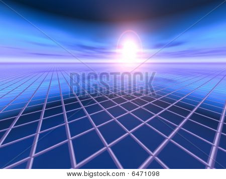 An abstract perspective business background with vanishing point lines to sunset over blue horizon. stock photo