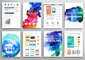 Set of Vector Poster Templates with Watercolor Paint Splash. Dynamic Background for Business Docume
