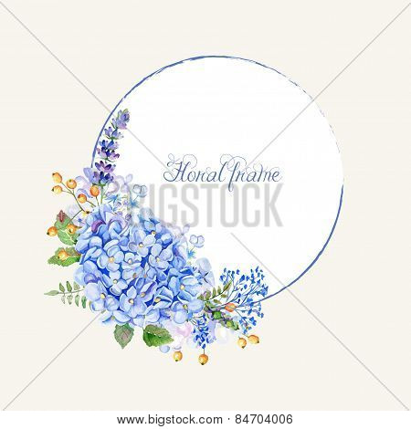 Vector Round Frame Of Blue Hydrangea And Other Flowers.