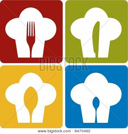 Chef icons. Chef hat silhouette pattern with cutlery inside on different background. Vector available. stock photo