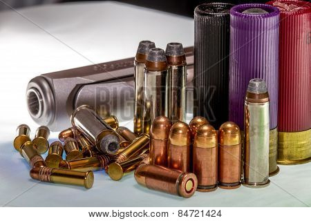 Guns and Ammunition for Fun or Self Defense. Second amendment rights. stock photo