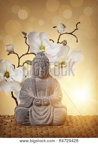 Buddha in meditation, religious concept-Lg Fridge Magnet Skin (size 36x65)