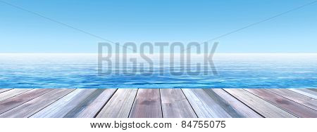 Concept or conceptual old wood or wooden deck on coast of exotic blue clear sea or ocean waves and s