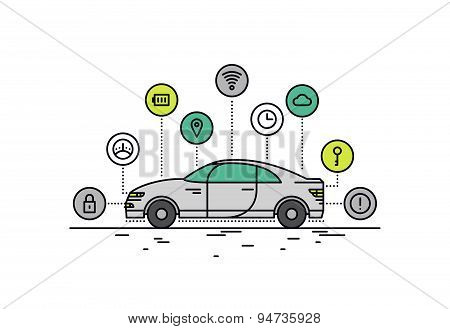 Driverless Car Line Style Illustration