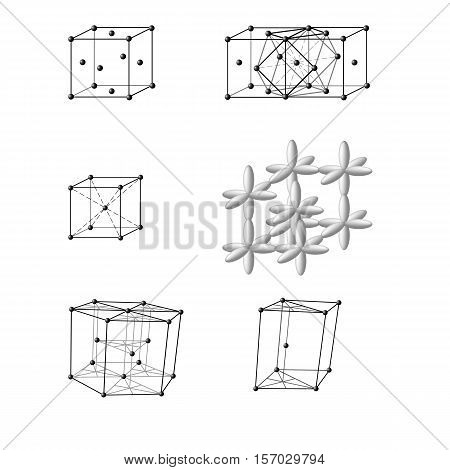Illustration of an ionic crystal structure of sodium chloride, NaCl Illustration of a face-centered cubic lattice of Cu, Au, Ag, Al, a body-centered cubic lattice of Fe, Na, K, Ba, hexagonal lattice Mg, Co, Be stock photo