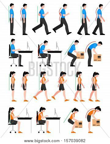 Colorful postures set with man and woman in correct and wrong positions for spine isolated vector illustration stock photo