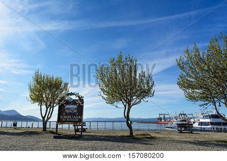 Sign of Ushuaia Fin el Mundo at port stock photo