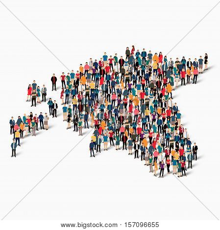 Isometric set of styles, people, map of Estonia , country, web infographics concept of crowded space, flat 3d. Crowd point group forming a predetermined shape. Creative people.  illustration. Photo .3D illustration. White background . Isolated. stock photo