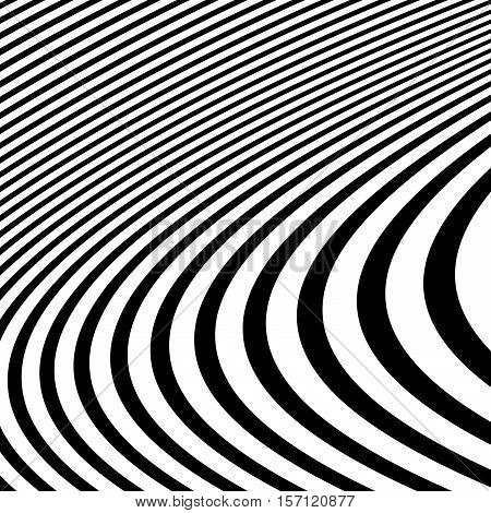 Distorted abstract monochrome pattern of asymmetric / irregular lines stock photo