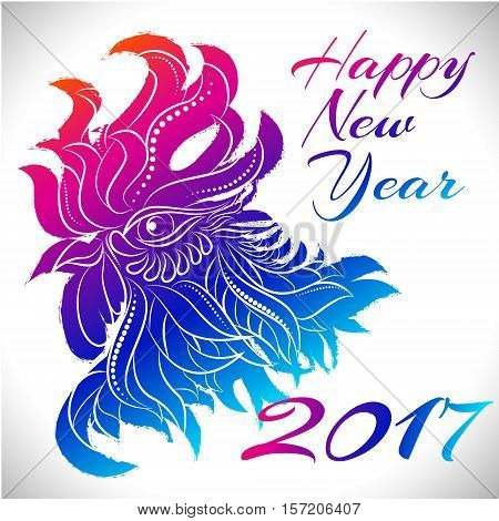 NewYear bird symbol of 2017 year, Head of Rooster - Chinese bird zodiac animal sign, vector illustration.Blue Rooster oriental bird - Chinese zodiac year symbol of 2017, chinese NewYear celebration. stock photo
