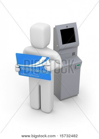 Atm machine and person with bankcard stock photo