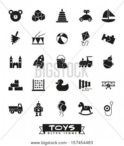 Toys for babies, kids, children and toddlers vector icon set. Collection of solid black children's t