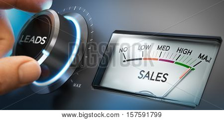 Hand turning a knob to set number of leads to the maximum to generate more sales. Composite image between a photography and a 3D background. Horizontal orientation.